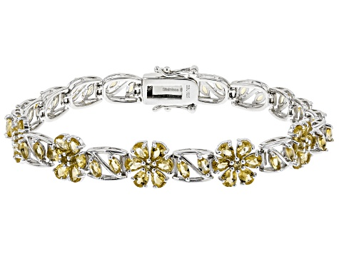 Yellow citrine rhodium over sterling silver bracelet 5.22ctw