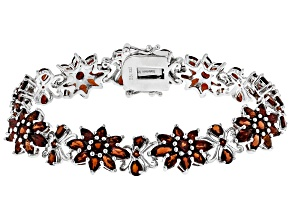 Red garnet rhodium over sterling silver bracelet 17.92ctw