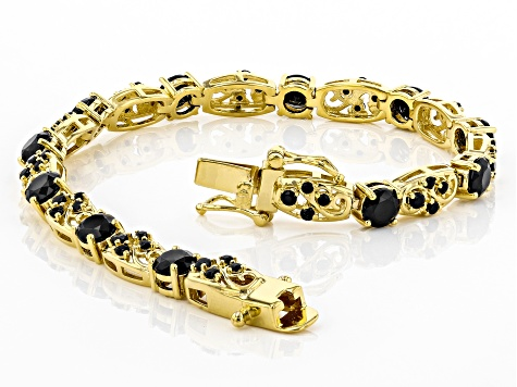 Black spinel 18k yellow gold over sterling silver bracelet 6.96ctw