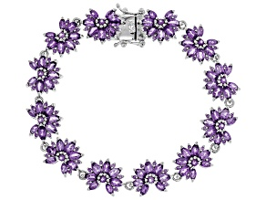 Purple amethyst rhodium over sterling silver bracelet 8.96ctw