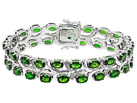 Green chrome diopside rhodium over silver bracelet 20.53ctw
