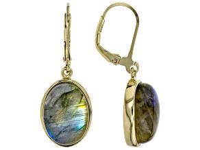 Gray labradorite 18k gold over sterling silver dangle earrings