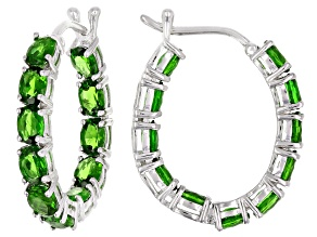 Green chrome diopside rhodium over silver earrings 3.74ctw