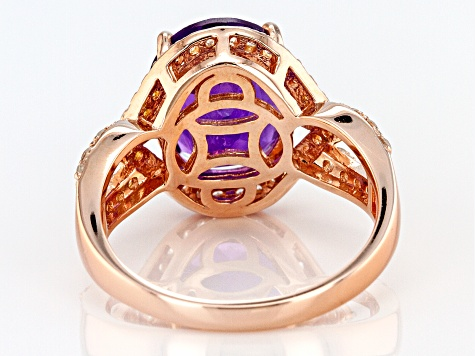 Purple amethyst 18k gold over silver ring 4.55ctw