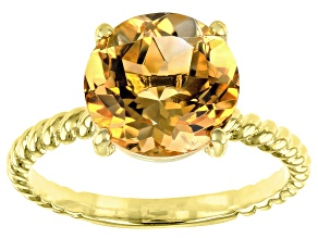 Yellow citrine 18k yellow gold over sterling silver solitaire ring 2.70ct