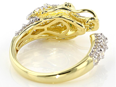 White zircon 18k gold & rhodium over silver dragon ring 1.10ctw