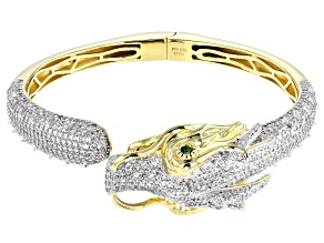White zircon 18k gold & rhodium over silver dragon bracelet 7.26ctw