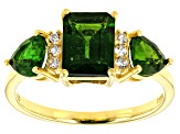 Green chrome diopside 18k gold over silver ring 2.46ctw