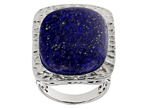 Blue lapis lazuli rhodium over silver solitaire ring