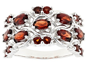 Red garnet rhodium over sterling silver band ring 2.33ctw
