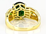 Green chrome diopside 18k gold over silver ring 4.04ctw