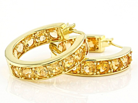 Yellow citrine 18k yellow gold over silver hoop earrings 5.98ctw