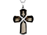 Brown smoky quartz rhodium over silver cross pendant with chain 16.02ctw