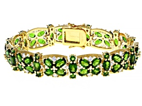 Green chrome diopside 18k yellow gold over silver bracelet 26.71ctw