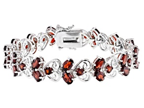 Red garnet rhodium over sterling silver bracelet 15.88ctw