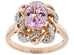 Pink Kunzite 18k rose gold over silver ring 2.37ctw