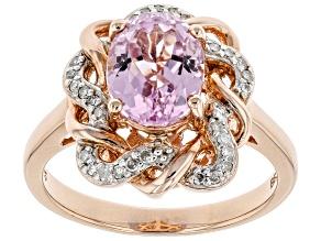 Pink Kunzite 18k rose gold over silver ring 2.37ctw