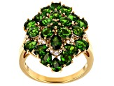 Green chrome diopside 18k yellow gold over silver ring 3.50ctw