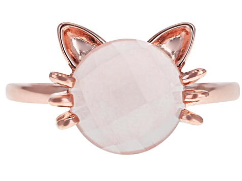 Pink Rose Quartz 18k Rose Gold Over Silver Cat Ring