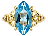 Swiss blue topaz 18k gold over silver ring 4.58ctw