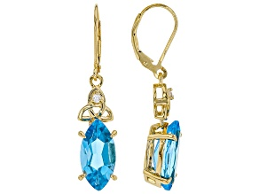 Swiss blue topaz 18k gold over silver earrings 4.58ctw