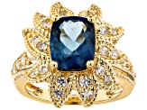 London blue topaz 18k gold over silver ring 4.18ctw