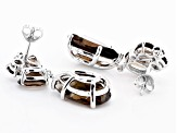 Brown smoky quartz rhodium over sterling silver dangle earrings 18.06ctw