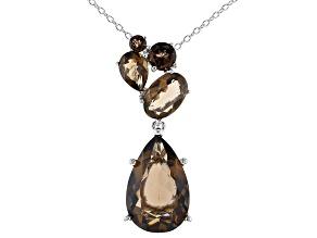 Brown smoky quartz rhodium over silver pendant with chain  9.03ctw
