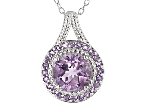 Purple amethyst rhodium over sterling silver pendant with chain 2.00ctw