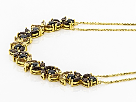 Black spinel 18K yellow gold over sterling silver necklace 7.74ctw