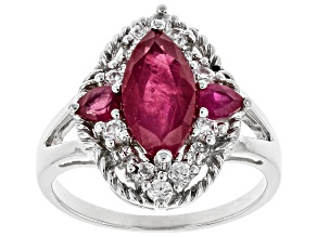 Red Mahaleo(R) ruby rhodium over silver ring 2.78ctw