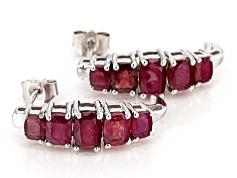 Red Mahaleo® ruby rhodium over silver earrings 4.26ctw