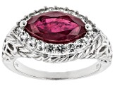 Red Mahaleo(R) ruby rhodium over silver ring 2.31ctw