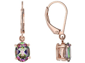 Green Mystic Fire(R) topaz 18k rose gold over silver dangle earrings 2.56ctw