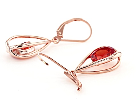 Orange lab created padparadscha sapphire 18k rose gold over silver earrings 3.62ctw
