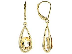 Yellow citrine 18k yellow gold over silver dangle earrings 2.61ctw