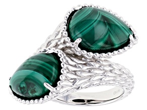 Green malachite sterling silver bypass ring