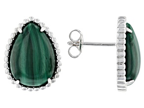 Green malachite sterling silver stud earrings