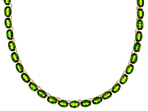 Green Chrome Diopside 18k Yellow Gold Over Sterling Silver Necklace 36.50ctw