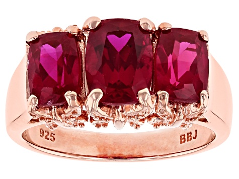 Red lab created ruby 18k rose gold over silver 3-stone ring 3.49ctw