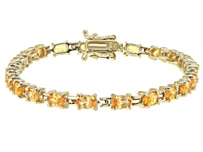 Orange spessartite garnet 18k yellow gold over silver bracelet 5.86ctw