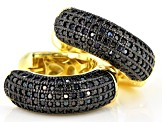 Black spinel 18k yellow gold over sterling silver huggie hoop earrings 1.10ctw