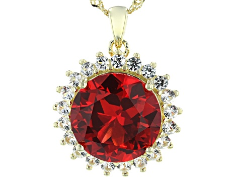 Orange Lab Created Padparadscha Sapphire 18k Gold Over Silver Pendant With Chain 7.95ctw