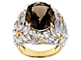 Brown smoky quartz 18k gold & rhodium over silver two-tone ring 8.32ctw