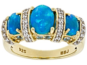 Paraiba Blue Opal 18K Yellow Gold Over Sterling Silver Ring 1.70ctw
