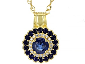Blue Kyanite 18K Gold Over Sterling Silver Pendant Chain 1.51ctw