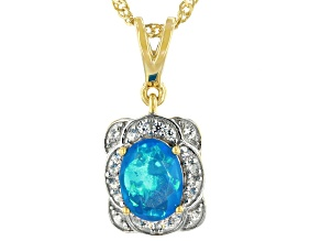 Paraiba Blue Opal 18K Yellow Gold Over Sterling Silver Pendant With Chain 0.75ctw