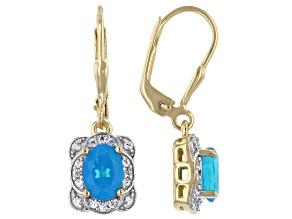 Paraiba Blue Opal 18K Yellow Gold Over Sterling Silver Dangle Earrings 1.07ctw