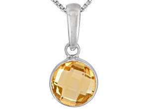 Womens 1.87ctw 8mm Round Golden Citrine Sterling Silver Solitaire Pendant