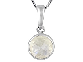 Womens 8mm Round White Moonstone Sterling Silver Solitaire Pendant